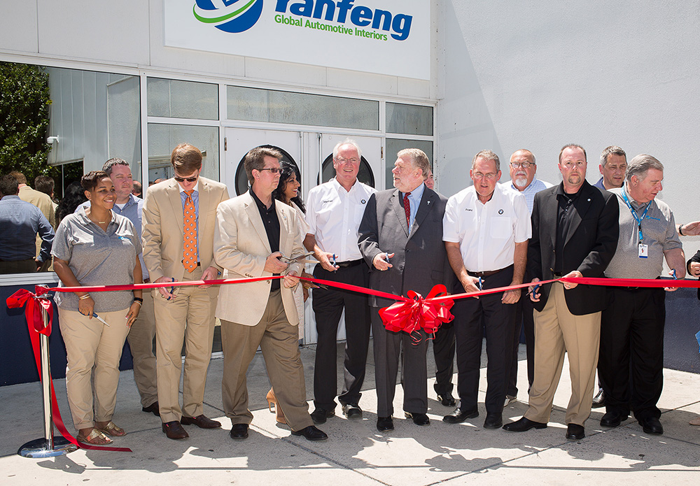 Yanfeng Automotive Interiors is joined by Bobby Hitt, Secretary of Commerce, Jonathan Coleman, Executive Director, Laurens County Development Corporation, and Executives from BMW Manufacturing Co, Ltd